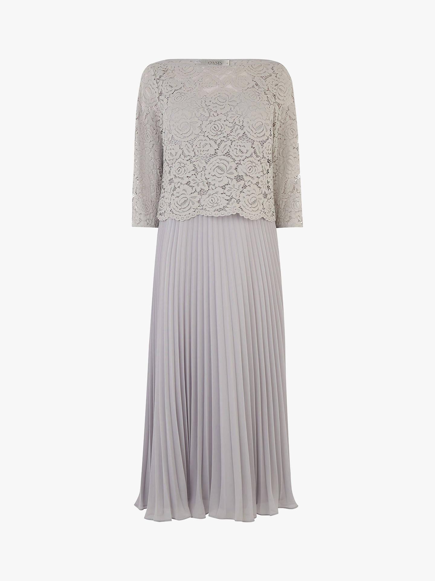 a3f91022fdff ... Buy Oasis Lace Top Midi Dress, Pale Grey, 12L Online at johnlewis.com