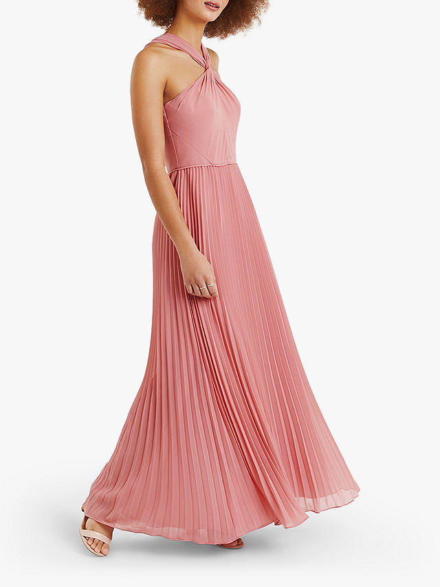 Buy Oasis Twist Neck Maxi Dress, Pale Pink, 16R Online at johnlewis.com