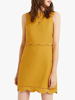 Oasis Scallop Layer Dress, Ochre