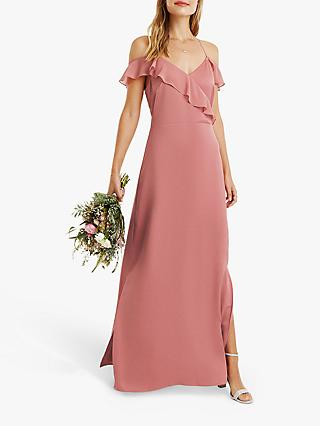 Oasis Ruffle Satin Maxi Dress, Pale Pink