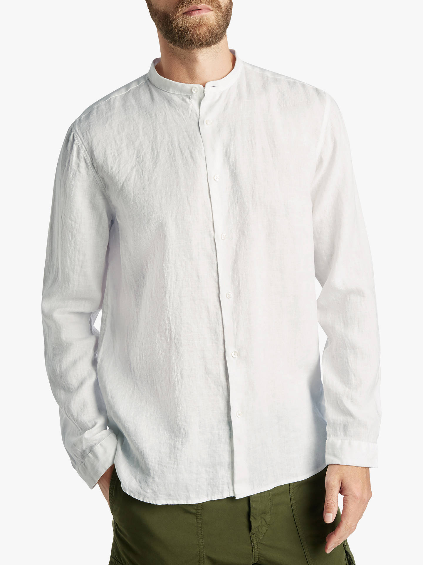 b8b0169b4 HUGO by Hugo Boss Eddison-W Stand Collar Linen Shirt, White at John ...