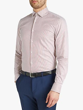 0dea3195 HUGO by Hugo Boss Kenno Stripe Slim Fit Shirt, White/Burgundy