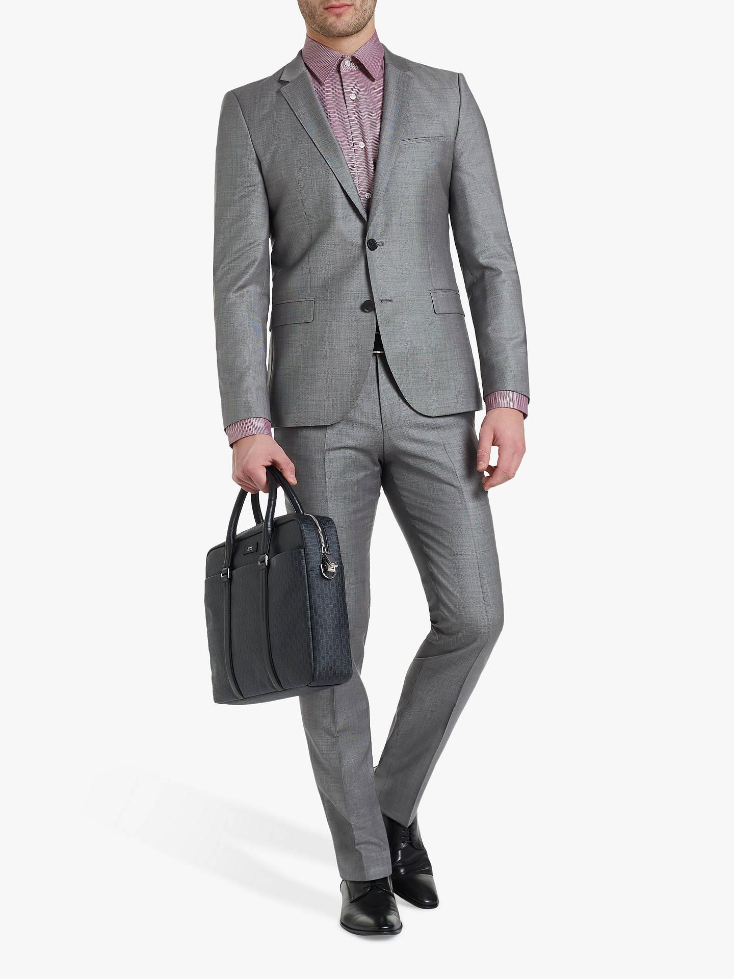 eded7079 ... Buy HUGO by Hugo Boss Hesten182 Birdseye Wool Super Slim Suit Trousers,  Grey, 32R ...