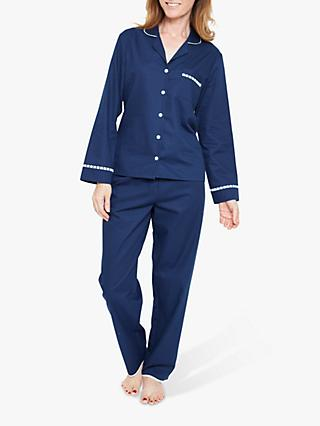 Nora Rose by Cyberjammies Adele Dobby Cotton Pyjama Set, Navy