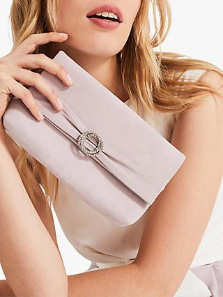 Phase Eight Joelle Jewel Suede Clutch Bag, Misty Mauve