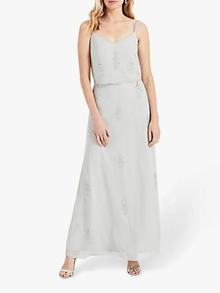 Phase Eight Agustina Beaded Maxi Bridesmaid Dress, Duck Egg