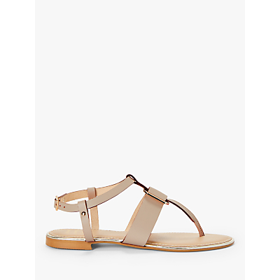 John Lewis & Partners Lyla Metal Detail Toe Post Sandals, Nude Leather