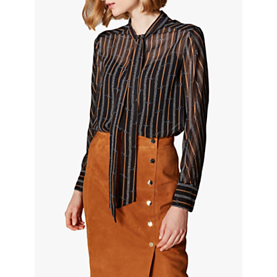 Karen Millen Chain Print Shirt, Brown/Multi