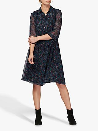 Brora Liberty Silk Chiffon Shirt Dress, Midnight Scribble