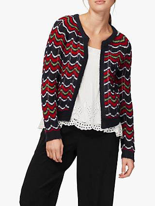 Brora Mohair Blend Wave Knit Cardigan, Navy/Multi