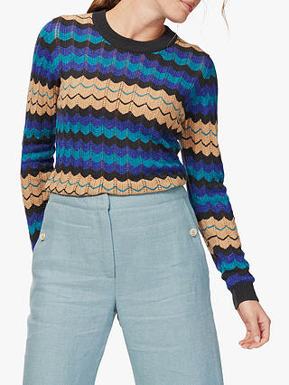 Buy Brora Cashmere Wave Jumper, Kingfisher, 10 Online at johnlewis.com
