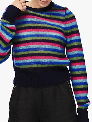 Brora Mohair Blend Stripe Jumper, Rainbow Stripe