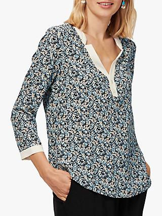 Brora Contrast Trim Liberty Silk Blouse, Midnight Blossom