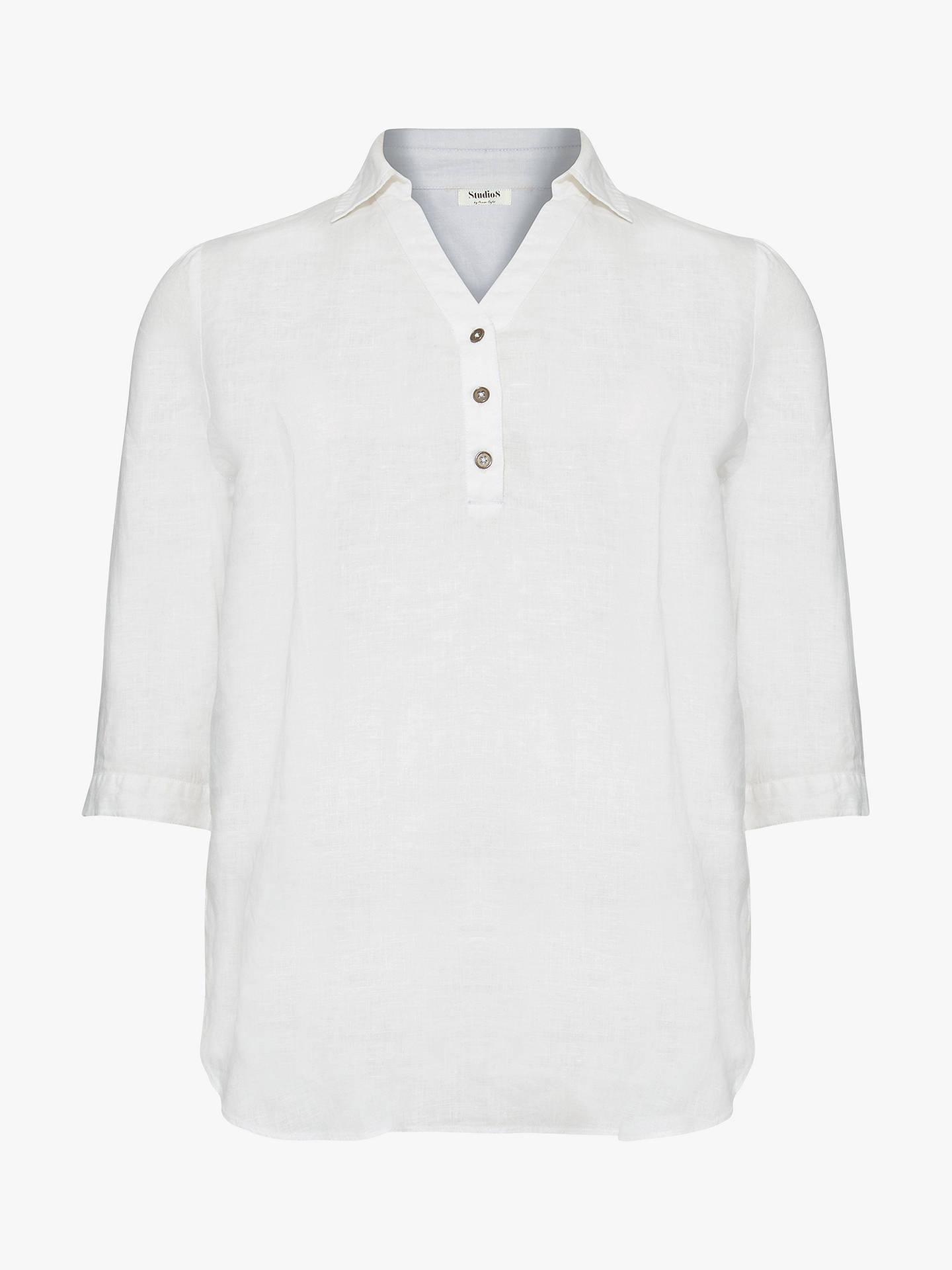81996e2d ... Buy Studio 8 Haze Linen Shirt, White, 16 Online at johnlewis.com