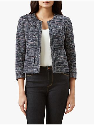 Hobbs Cecelia Tweed Tailored Jacket, Navy/Multi