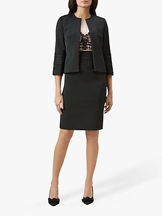 Hobbs Seraphina Lace Detail Tailored Jacket, Black