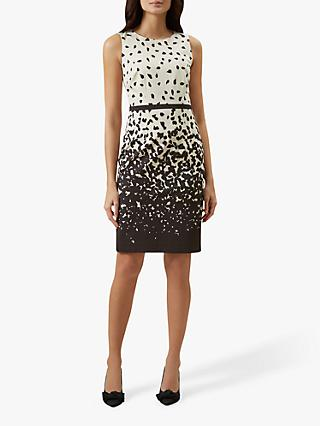 Hobbs Arabella Abstract Print Tailored Dress, Ivory/Multi
