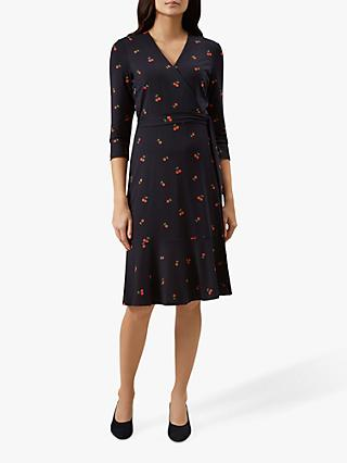 Hobbs Kelly Wrap Print Dress, Navy Multi