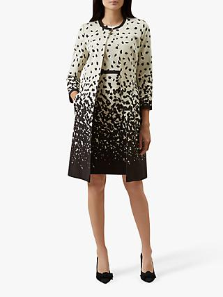 Hobbs Arabella Abstract Print Tailored Coat, Ivory/Multi