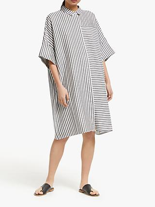 Kin Oversized Stripe Shirt Dress, Grey