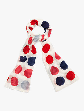Buy Phase Eight Salina Spot Print Scarf, Red/Navy Online at johnlewis.com