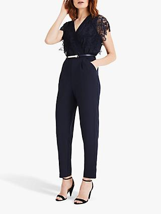 Phase Eight Amira Lace Top Jumpsuit, Navy