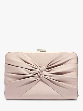 Phase Eight Kendall Satin Knot Front Clutch Bag, Latte
