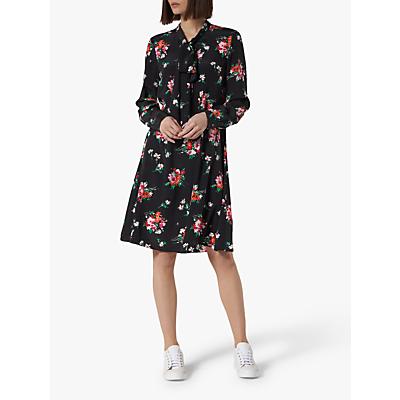 L.K.Bennett Lotte Floral Tie Neck Silk Dress, Multi