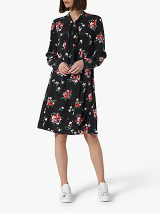 L.K.Bennett Lotte Floral Tie Neck Silk Dress, Multi