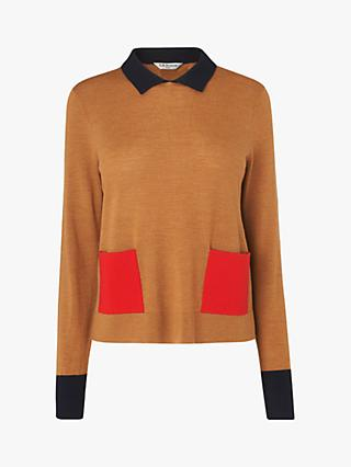 L.K.Bennett Melanie Colour Block Collar Wool Jumper, Toffee/Multi