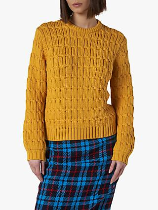 L.K.Bennett Alaska Cable Knit Jumper, Golden Spice
