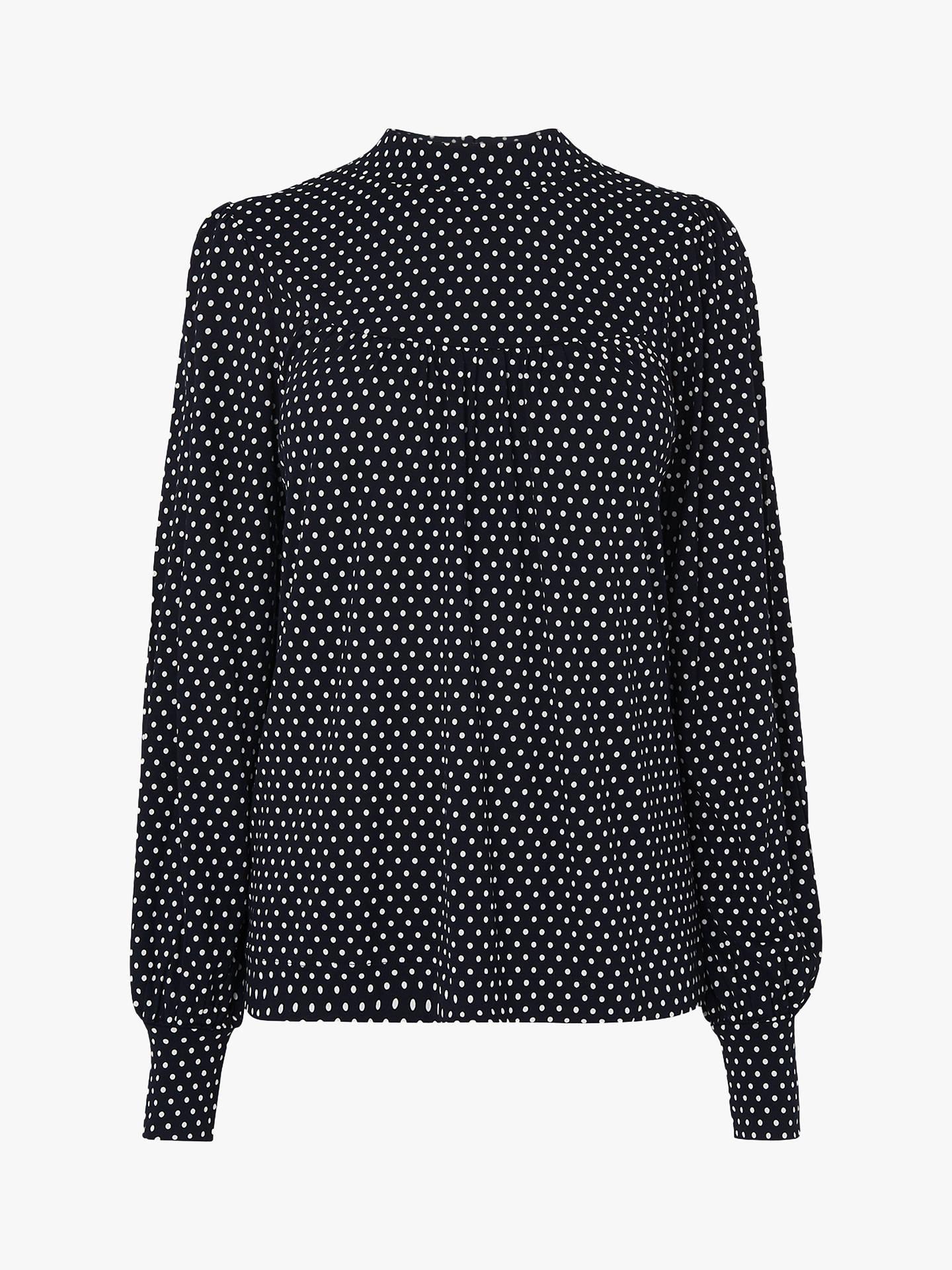 6b174eb11b0706 Buy L.K.Bennett Mabyl Polka Dot Jersey Top, Navy/Cream, XS Online at ...