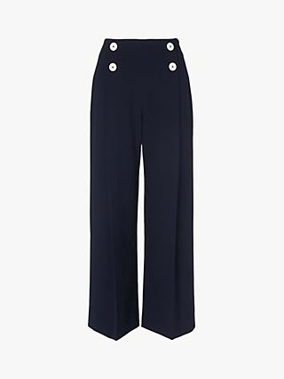 L.K.Bennett Parker Button Waist Trousers, Midnight Blue
