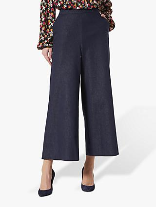 L.K.Bennett Emil Wide Leg Denim Trousers, Blue