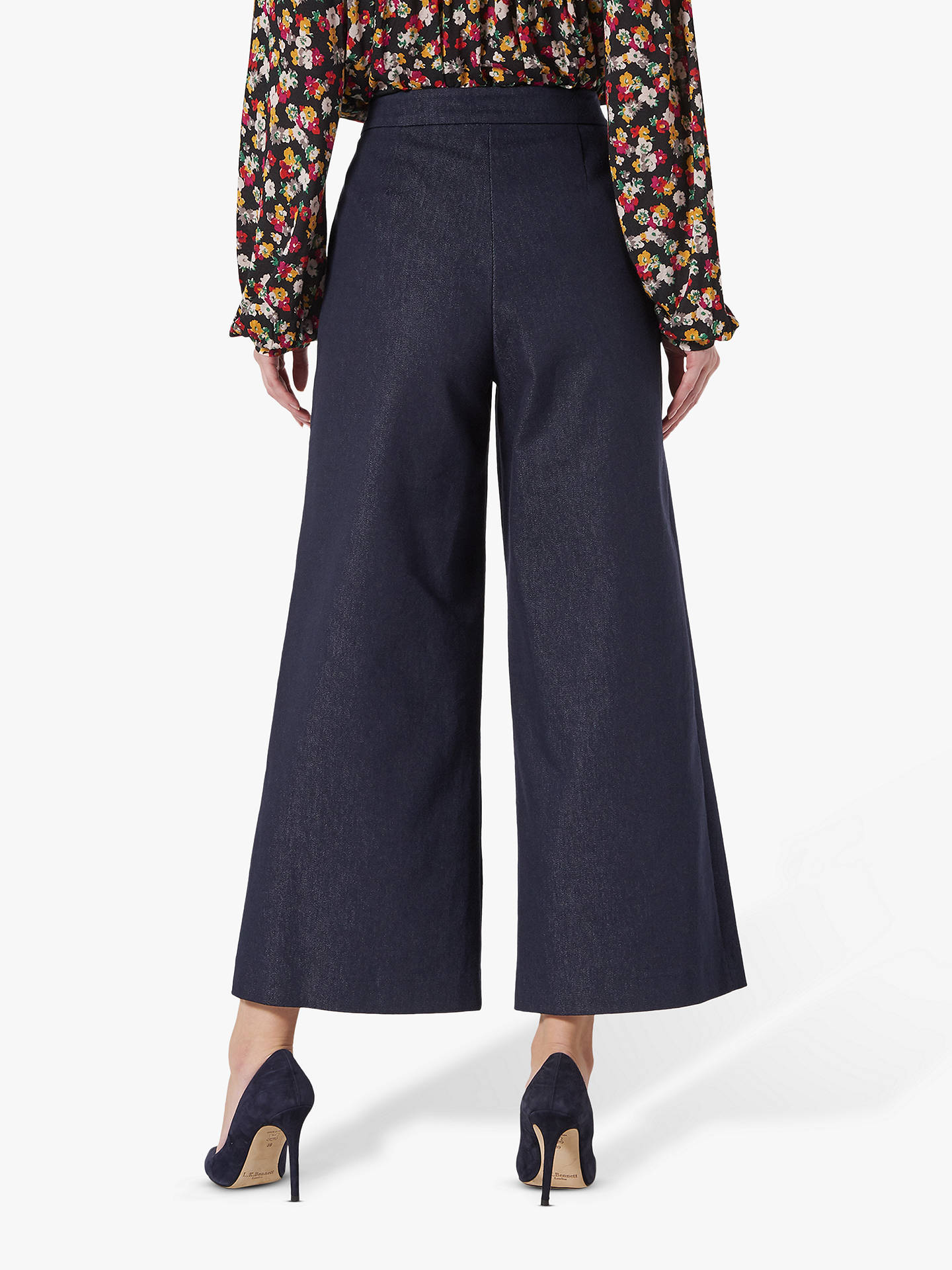BuyL.K.Bennett Emil Wide Leg Denim Trousers, Blue, 8 Online at johnlewis.com
