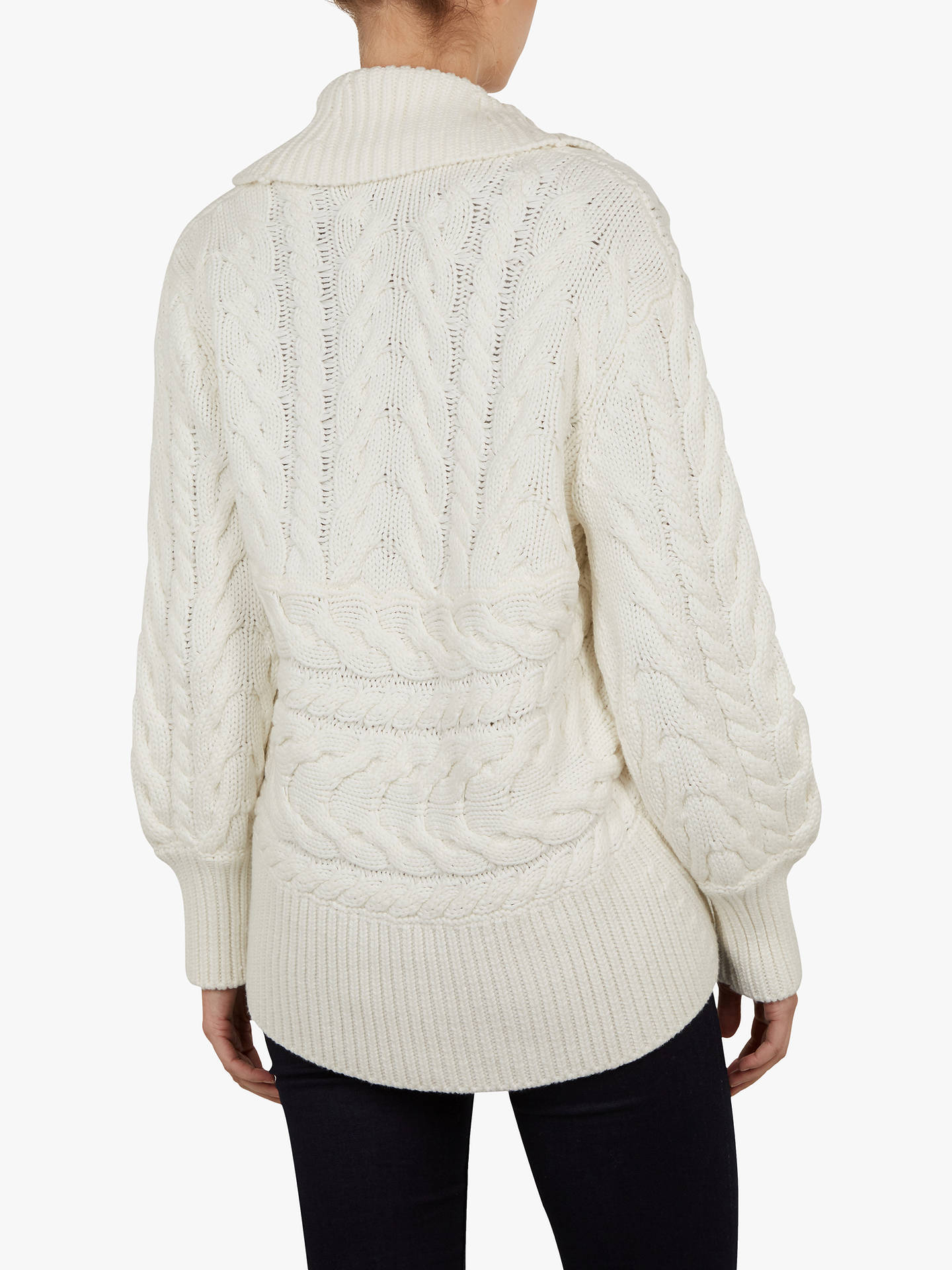 BuyTed Baker Filena Chunky Cable Knit Cardigan, Ivory, M/L Online at johnlewis.com
