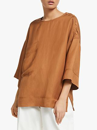 Kin Pocket Shell Linen Top, Orange