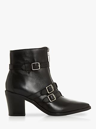 Dune Princely Block Heel Ankle Boots, Black Leather