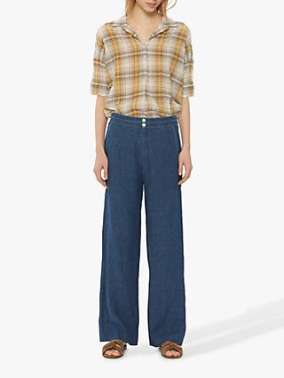 Gerard Darel Wide Leg Linen Trousers, Blue