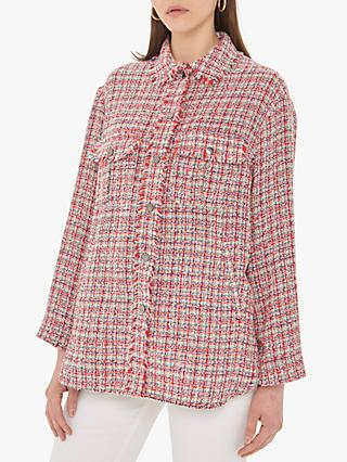 Gerard Darel Selia Textured Check Jacket, Red