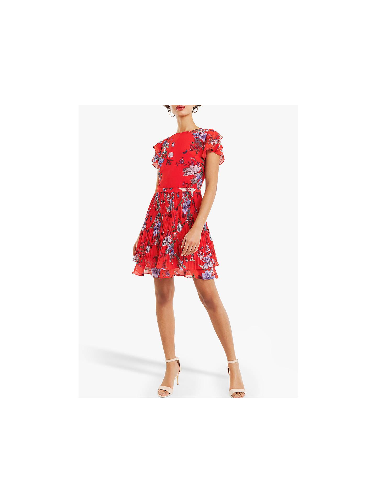 5ada43c3bf1ea Oasis Chiffon Pleat Skater Dress, Red/Multi at John Lewis & Partners