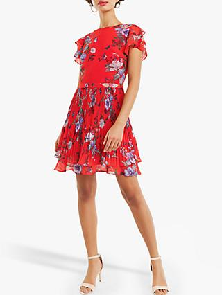 Oasis Chiffon Pleat Skater Dress, Red/Multi