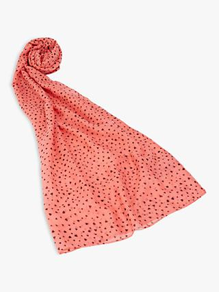 Oasis Heart Print Scarf, Coral