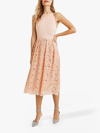 Oasis Satin Bodice Lace Midi Dress, Dusky Pink