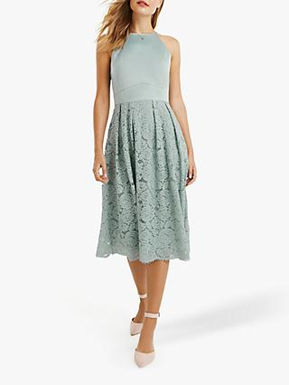 Oasis Satin Bodice Lace Midi Dress