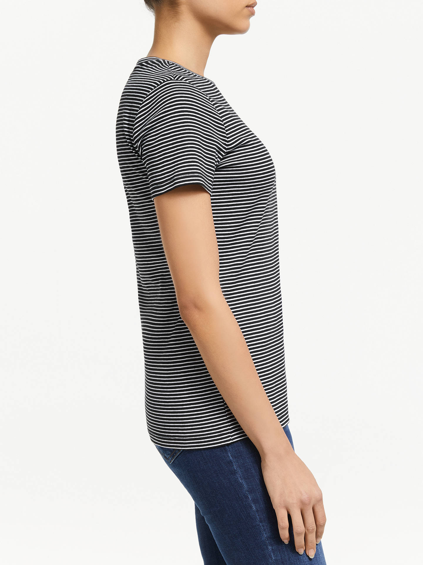 Buy John Lewis & Partners Short Sleeve Crew Neck Stripe T-Shirt, Black/White, 10 Online at johnlewis.com