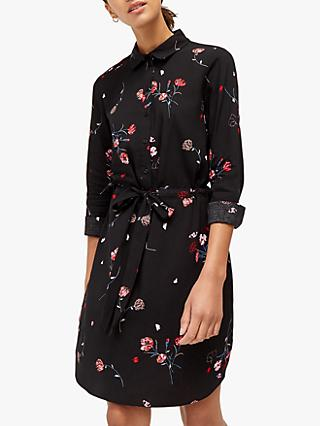 Warehouse Floral Shirt Dress, Black