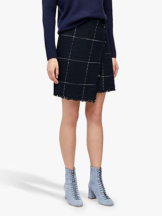 Warehouse Tweed Check Pelmet Skirt, Navy