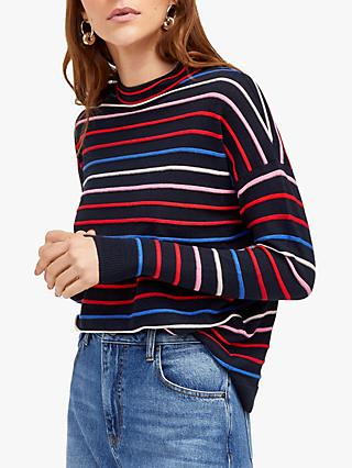 Warehouse Funnel Neck Striped Jumper, Navy