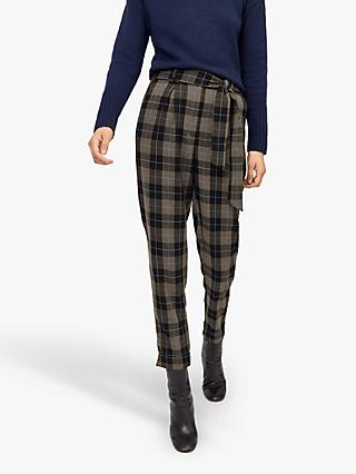 Warehouse Large Check Tie Trousers, Grey